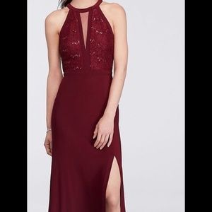 Nightway Long Lace Halter Gown (Prom dress)
